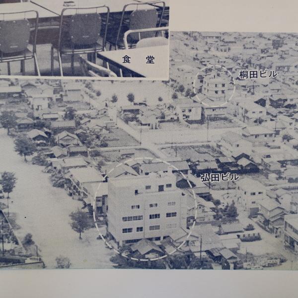 当時の採用パンフレットに載っている昭和40年頃の本社周辺の様子です。歴史が垣間見えます。